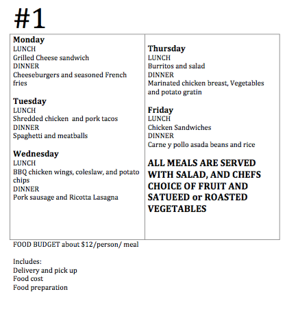 Meal Prep Menu for Rehabs #1